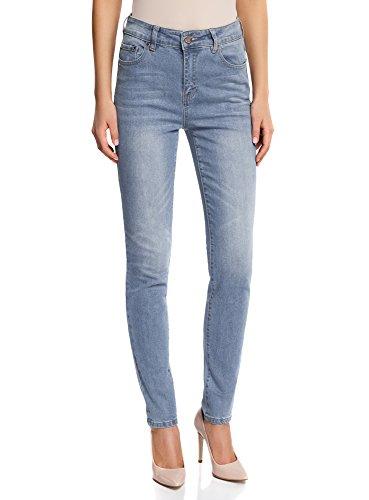 Oodji ultra donna jeans slim fit a vita alta, blu, 30w / 32l (it 48 / eu 44 / xl)