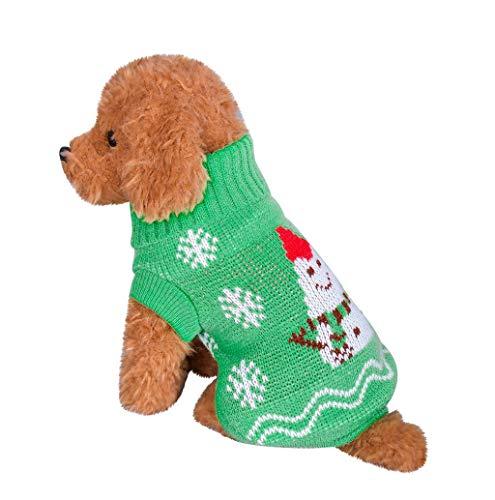Mode Haustierbekleidung Weihnachten, TWBB Welpe Hund Katze Rollkragen Strickpullover Sweater Warme Winter weiche Schneeflocke hundemantel Winterjacken Weste Kostüme für Welpen Kleine (Hunde Tuxedo Kostüm)