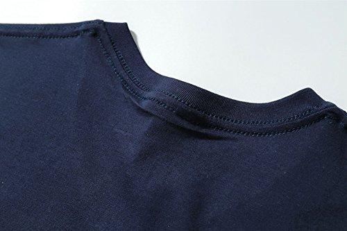 ETASSO Herren V Ausschnitt Kurzarm T Shirt Casual Tops Oberteil Dunkelblau