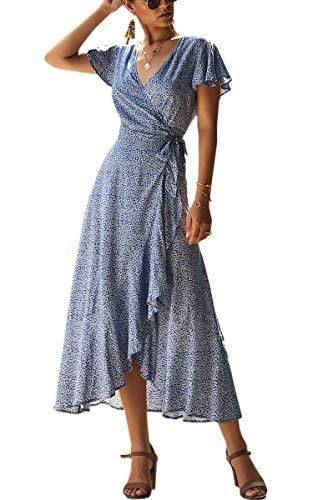 Spec4Y Damen Boho Lange Kleider V-Ausschnitt Sommerkleider Kurzarm Wickelkleid Maxikleid Strandkleid mit Schlitz Blau M -
