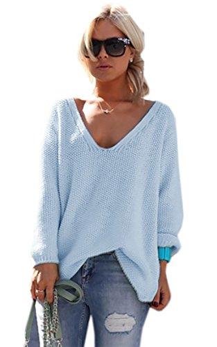 """Mikos* Damen Pullover Hoodie Sweatshirt Warm Lange Ã""""rmel Casual Sleeve Pullover Jacke Slim Mantel Tops (617) (Hellblau)"""