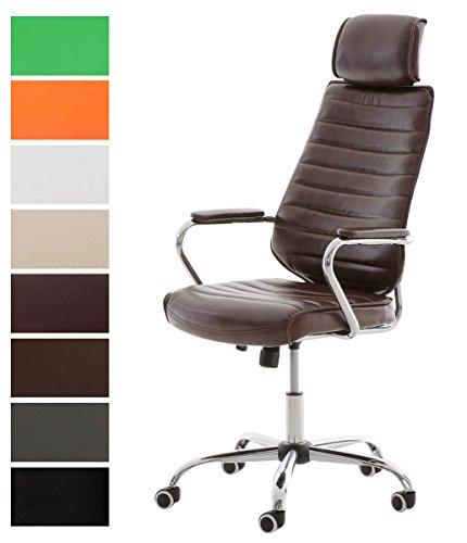 CLP Bürostuhl RAKO V2 mit Kopfstütze und Laufrollen   Höhenverstellbarer Schreibtischstuhl mit Kunstlederbezug Bordeauxrot