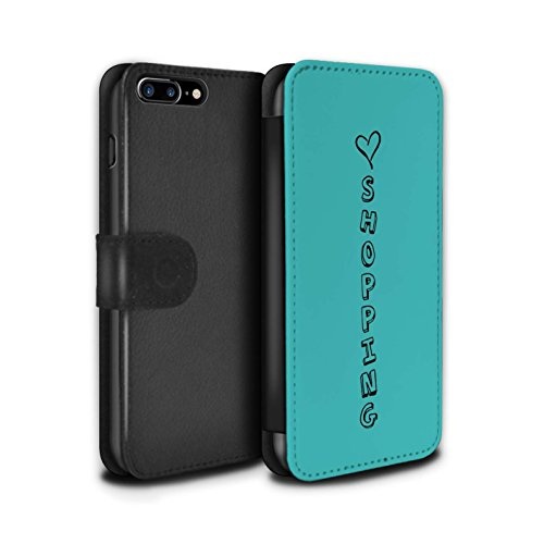 Stuff4 Coque/Etui/Housse Cuir PU Case/Cover pour Apple iPhone 7 Plus / Rose/Amour Chocolat Design / Coeur XOXO Collection Bleu/Amour Achats