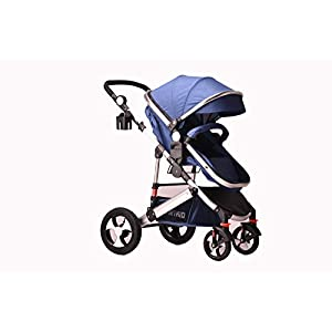 Kids Pram Travel System 2 in 1 Combi Stroller Buggy Baby Child Pushchair - (Blue Pram Only or add car seat)   8