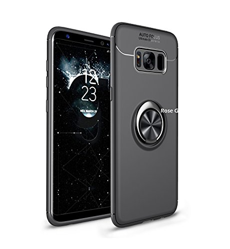 Homikon TPU Silicone Coque Etui Housse de Protection Case avec 360 degré Anneau Support Magnétique Soft Flexible Bumper Gel Shock-Absorption Étui Couverture pour Samsung Galaxy S8 Plus - Noir