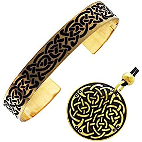 Handcrafted ottone inciso, Celtic Knot, rotonda pendente di modo della collana del braccialetto del braccialetto Set