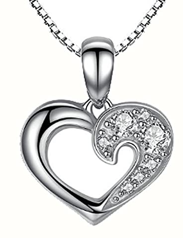 SaySure - 925 Sterling Silver Our Hearts & Love Pendant