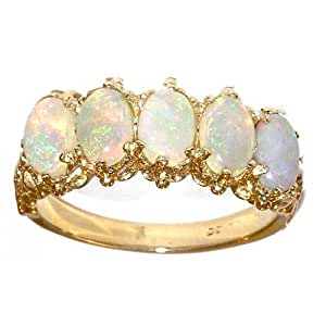 Victorian Design Solid 9ct Gold Natural Opal Ring - Size K - Finger Sizes K to Y Available