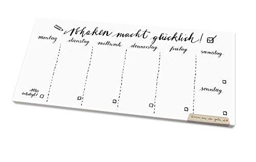 Abhaken macht glücklich! - persönlicher Wochenplaner für alle deine Aufgaben & To do's, vielseitiger Wochenplan Abreißblock zum Planen deiner Termine und Erledigungen, DINlang, schwarz weiß, Kalligrafie, Recyclingpapier c02neutral