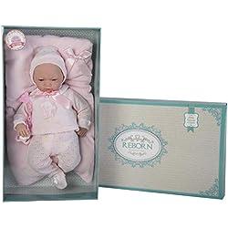 GUCA - Muñeca Baby Reborn Andrea Polaina Jersey y cojin Rosa s/ Pelo 46 cm