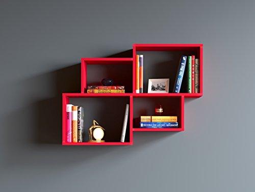 Homidea bend mensola da muro - mensola parete - mensola libreria - scaffale pensile per studio/soggiorno in design moderno (rosso)