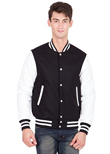 Melton Wool Letterman Jacket (White Leather Sleeves & Black Wool Body Varsity Jacket-Men XXXX-Large)