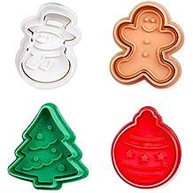 ElecMotive Set di 4 pezzi Natale Formine ad Esplsuesione per Biscotti  Bianco per Decorazioni Biscotti Decorazioni