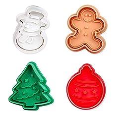 Idea Regalo - ElecMotive Set di 4 pezzi Natale Formine ad Esplsuesione per Biscotti Bianco per Decorazioni Biscotti Decorazioni