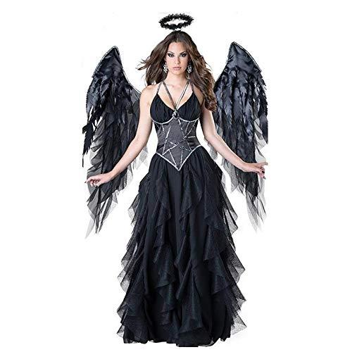 wnddm Erwachsene Frauen Halloween Evil Engel Kostüm Black Party Maskerade Cosplay Kleider Scary Mage Uniformen wigh Wing@Einheitsgröße