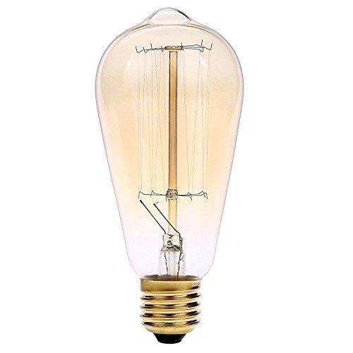 jaylong bombillabombilla Licht ST64Retro der mode Vergangenheit des Tungsten Filament Edison Stil E27Glühlampe Edison Schraube Eichhörnchen Käfig-Stil Glas aus der Antike Glas der Lampe EEK A + (Solar-licht, Mückenschutz)