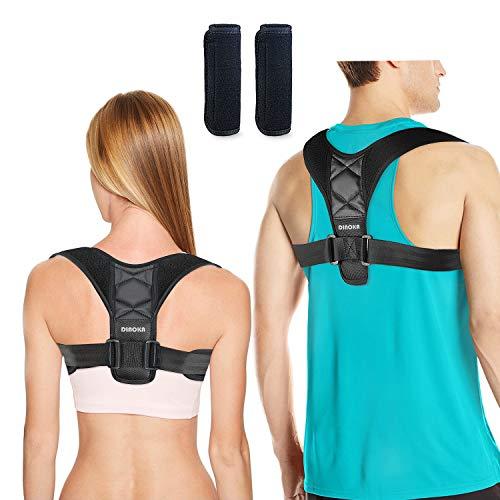 DINOKA Corrector de Postura de Mujeres Hombres Brace Ajustable Hombro Enderezar la Espalda Cómodo Respirable Respaldo Anchura Hombro Clavícula Apoyo Espalda