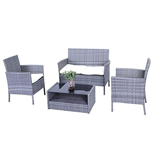 Aleko RTBG09GRY Hamptons Sitzgruppe für Terrasse, aus Polyethylen, mit Kissen, Grau und cremefarben, 4-teilig (Hampton Möbel)