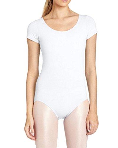 (Gladiolus Damen Ballett Trikot Ballettanzug Kurzarm Tanz Body Gymnastikanzug Turnanzug Leotard Weiß L)