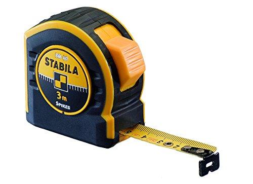 STABILA Taschenbandmaß BM 40, 10 m, mit doppelseitiger Skala und Spikes-Haken 10 Skala