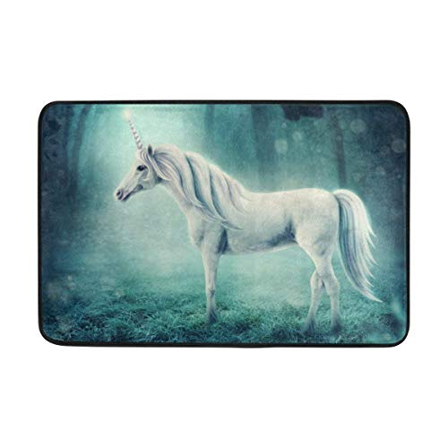 LINGVYTE Not Slip Doormats Rugs WhiteIn A Dark Forest Soft Foam Printing for Living Room Kids Bedroom Bathroom Door Mats 23.6x15.7 inch (Forest Hose Service)