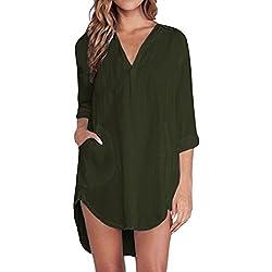 ZANZEA Femme Chemise Manches Longue Tunique Lâce Mini Robe Mousseline T-Shirt Tops Haut Blouse Vert EU 40/ US 8 UK 10