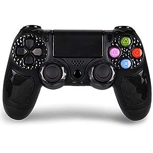 PowerLead Gamecontroller für PS4, Wireless Gaming Controller 6-Achsen-Dual-Vibration-Shock-Gamepad für Playstation 4 / Playstation 3 / PC mit LED-Touchpad und Audio-Buchse