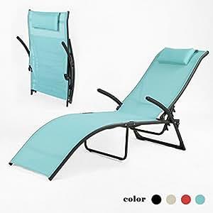 SoBuy OGS22-BL Transat de Jardin Pliable, Bain de Soleil, Fauteuil Relax Chaise Longue, Dossier Inclinable, Bleu