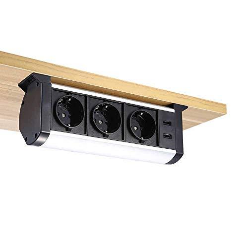 Pulchra Tischsteckdose 3/2 fach horizontale Tischsteckdosenleiste Mehrfachsteckdose mit 2 USB-Anschlüsse, Steckdosenleiste Mehrere Stile, für Büro (3-fach Steckdosen/2 USB-B)