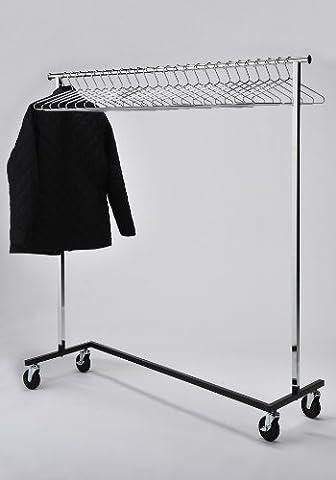 RACK52 Mobiler Kleiderständer mit Bügeln, Chrom