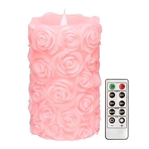 Dfl candele artistiche candele led con telecomando, rose forma a flusso libero 3d fireless senza fiamma luce pilastro, batteria operate, 8,9x15,2cm, rosa, per il regalo festa della mamma
