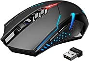SKY TOUCH Wireless Gaming Mouse with Unique Silent Click, Ergonomic Grips, 2400 DPI, 2 Programmable Side Butto