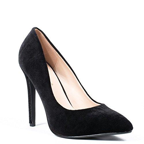 Ideal Shoes - Escarpins effet velours Laelle Noir