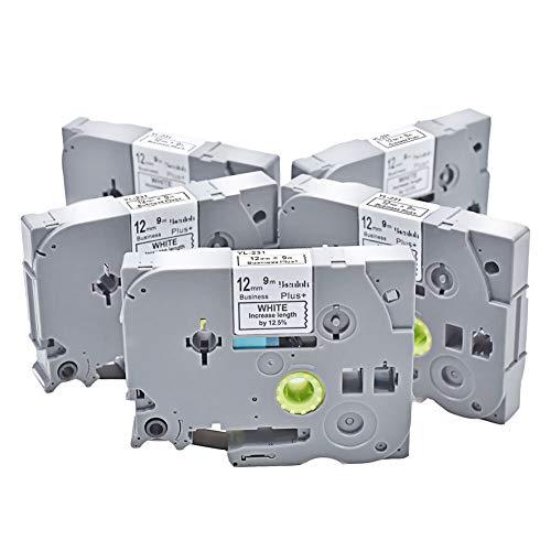 TZe-231 Schriftbänder Laminiertes Beschriftungsband für Brother P-touch TZ-231 schwarz auf weiß, 12mm x 8m + 1m, für H105WB D400 H100LB D400VP D500VP P700 P750W uvm