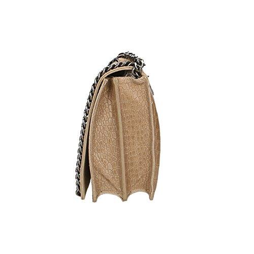 Chicca Borse Clutch Borsetta Borsa a Spalla Stampa Cocco da Donna con Tracolla in Vera Pelle Made in Italy - 30x20x10 Cm Fango
