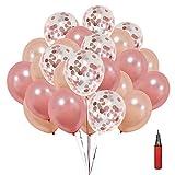 SKL Konfetti Luftballons 50pcs Pailletten Latex Ballons Roségold Transparente Konfetti Ballon Für Halloween, Weihnachten, Geburtstagsfeiern, Party, Hochzeitsfeiern