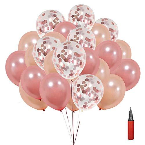 (SKL Konfetti Luftballons 50pcs Pailletten Latex Ballons Roségold Transparente Konfetti Ballon Für Halloween, Weihnachten, Geburtstagsfeiern, Party, Hochzeitsfeiern)