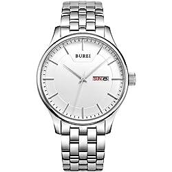 Burei 7007Concise Style Multifunctional 3ATM Waterproof Uhr Quarz Wrist Uhr mit Stainless Steel Band, Chinese & English Week & Calendar Display FUNCTIONS für Herren (White)