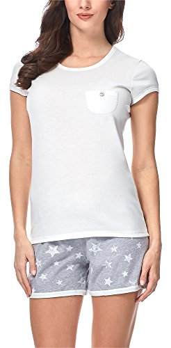 Italian Fashion IF Damen Schlafanzug 7492T1 M004 (Ecru/Melange, S) (Frühjahr-sommer-pyjama)