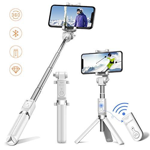Humixx Selfiestick, Selfie Stick, Drahtlos Gesteuert Selfiestick für iPhone 6/7/8 /Samsung iPhone X / 8 Plus / 8 Plus / 7 / Samsung Galaxy Serie, DSLR und iPad (Weiß)