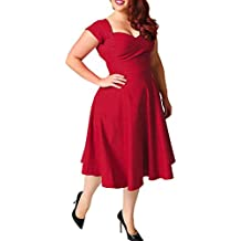 1c6a023c42a5a0 ABYOXI Damen Vintage A-Linie 50er Retro Rockabilly Kleid Knielang  Abendkleid Große Größen