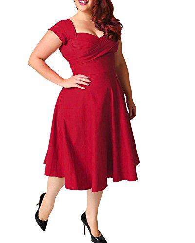 ABYOXI Damen Vintage A-Linie 50er Retro Rockabilly Kleid Knielang Abendkleid Große Größen (DE 48, Rot)