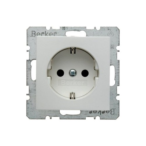 BERKER 47231909 STECKDOSE SCHUKO S 1/B 1/B 3/B 7 GLAS POLARWEIß  MATT