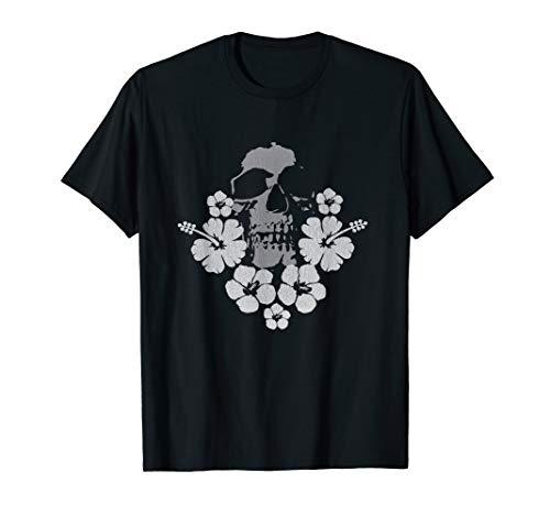 Distressed Schädel Hibiskus Hawaii Aloha Surf Vibe T-Shirt (Aloha-shirt Hibiskus Hawaii)