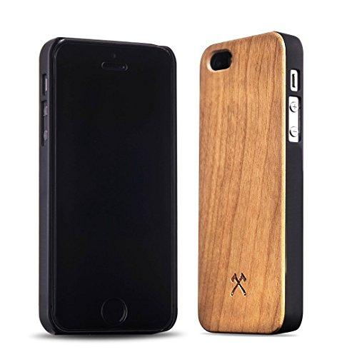Woodcessories - EcoCase Classic - Premium Design Case, Cover, Hülle für das iPhone aus FSC zert. Holz (iPhone 5/ 5s/ SE, Kirsche/ schwarz)