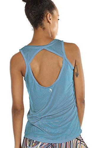 icyzone Damen Yoga Sport Tank Top - Rückenfrei Fitness Shirt Oberteil ärmellos Training Tops (M, Blue