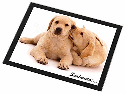 Yellow Labrador Dogs 'Soulmates' Glas Tischset mit schwarzem Rand Weihnachten Ti