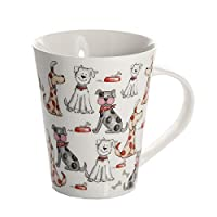 Dog Mug Cup for Tea Coffee, White Porcelain China with Cute Dogs Design Dishwasher Microwave Safe Gift for Animal and Dog Lovers and Owners