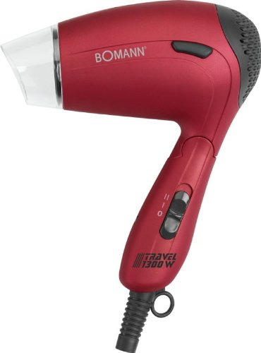 Reise-Haartrockner mit Diffuser und Formdüse Fön Haarfön Haar Föhn Haarföhn Harfön (Sportfön, Griff klappbar, Sparsame 1300 Watt, Rot)