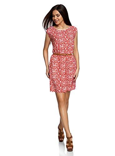oodji Ultra Damen Ärmelloses Kleid aus Bedruckter Viskose, Rot, DE 42 / EU 44 / ()
